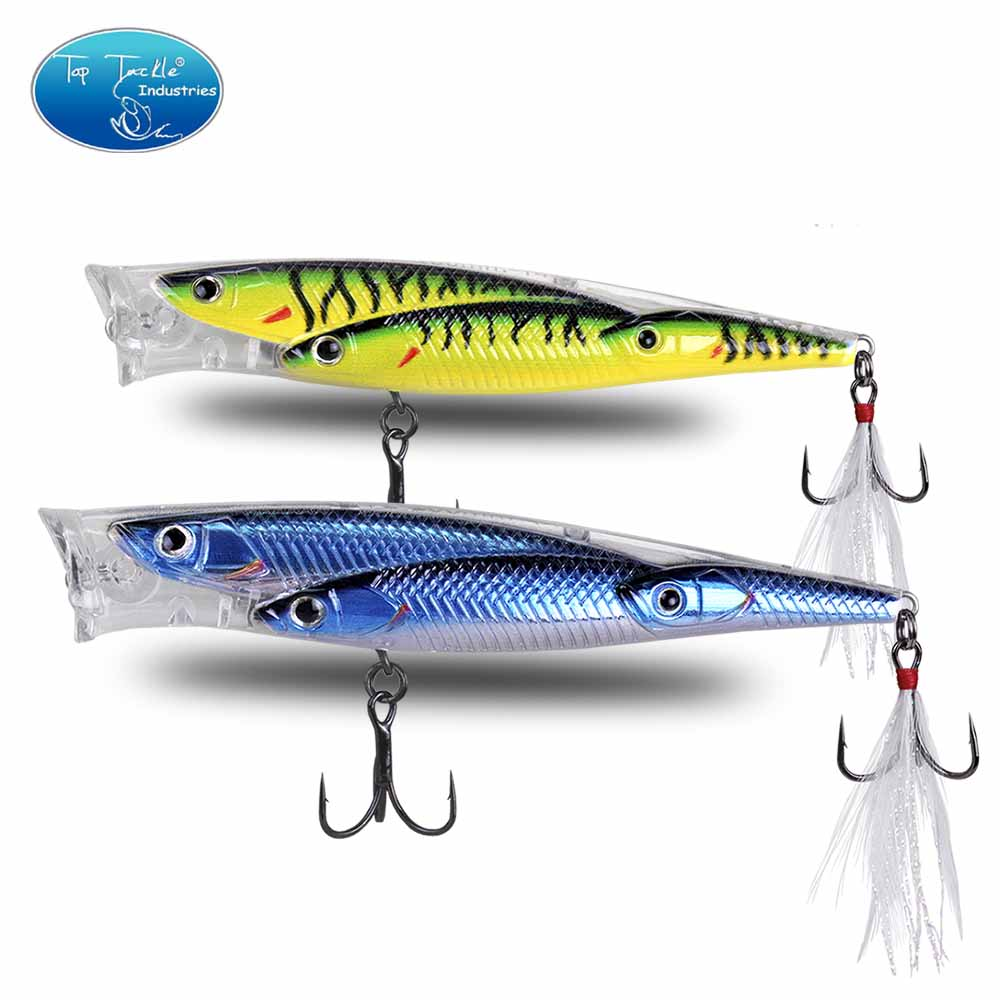 Topwater Plastic Popper Crystal Mouth Fishing Lure 100mm 14g And 80mm 11g Fishing Bait