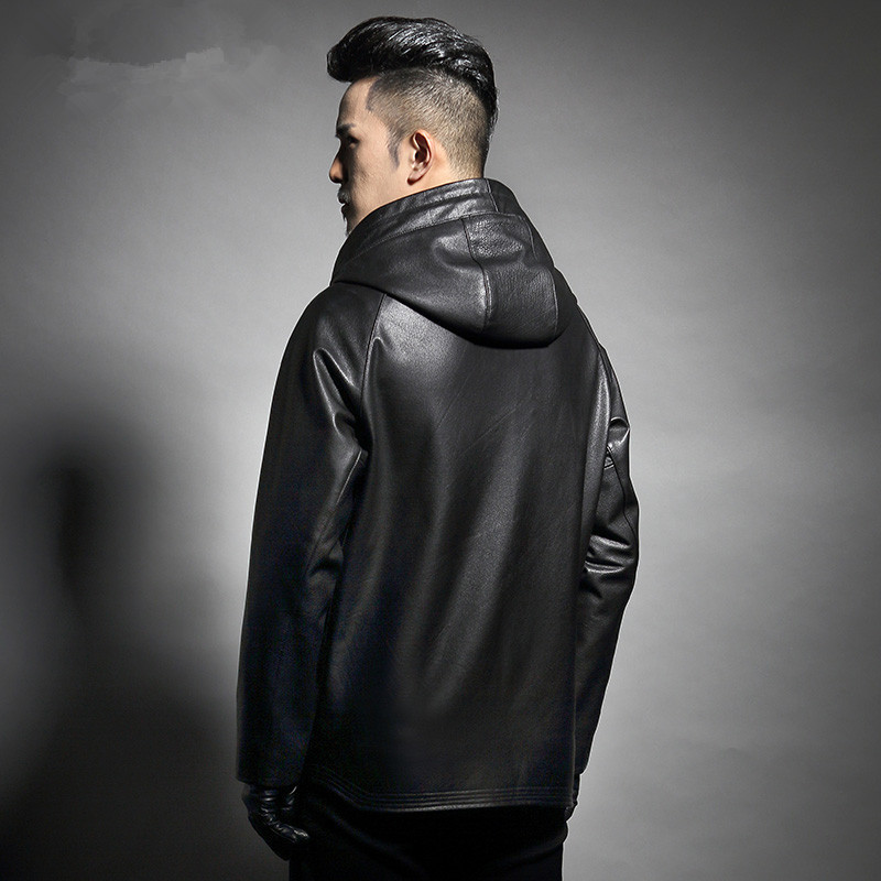 Mens Genuine Cow Leather Jackets Spring Auutmn Hooded Windbreakers Plus Size 6XL Casacas Para Hombre F1826 MF128
