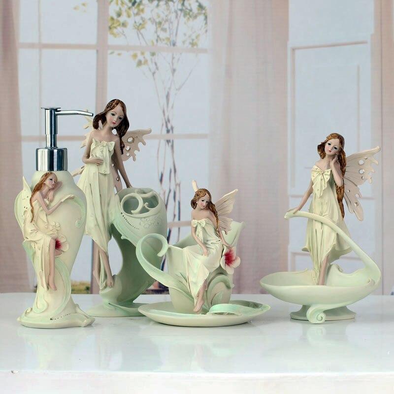 4 pièces/ensemble fée ange porte-brosse à dents distributeur de pâte à dents porte-savon ensemble salle de bain ensembles 5 pièces accessoires de décoration de salle de bain