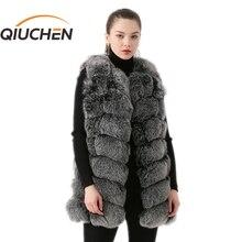 QIUCHEN PJ19035 2020 새로운 도착 리얼 폭스 모피 여성 겨울 조끼 패션 조끼 무료 배송 뜨거운 판매 두꺼운 모피