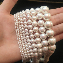 Natural White Shell Pearl Round Loose Beads 15.7 Inch For Jewellery Making Neckl