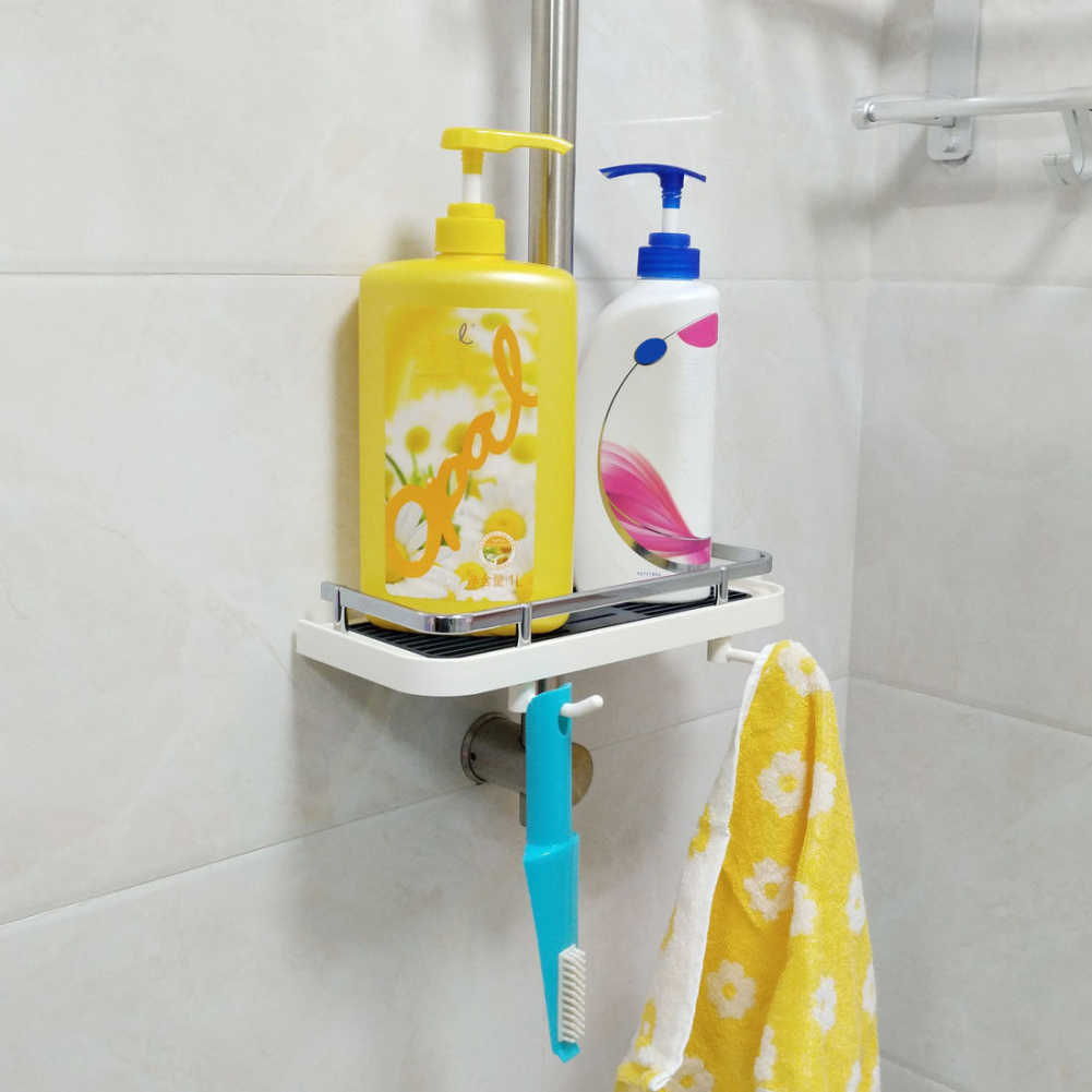 Adjustable Bathroom Pole Shelf Shower Storage Rack Holder ...