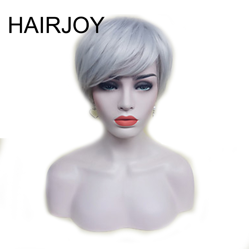 HAIRJOY Synthetic Hair Wigs Women Silver Gray  Short Straight Wig with Bangs