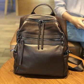 2019 Hot Sale Female Backpack Women Bag 100%  Genuine Leather Cowhide Backpack Travel Casual Girls School Shoulder Backpacks