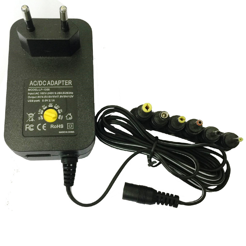 <font><b>3V</b></font> 4.5V 5V 6V 7.5V 9V <font><b>12V</b></font> 30W <font><b>AC</b></font> <font><b>DC</b></font> Adapter Adjustable Power Adapter Universal Charger For LED Camera Phone image