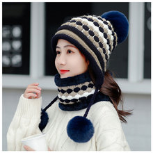 Winter Hats and scarf Women Thick Warm Beanie Skullies Hat Female knitted Striped Bonnet Beanie Cap Outdoor Unisex hat and scarf striped rib knitting warm beanie hat