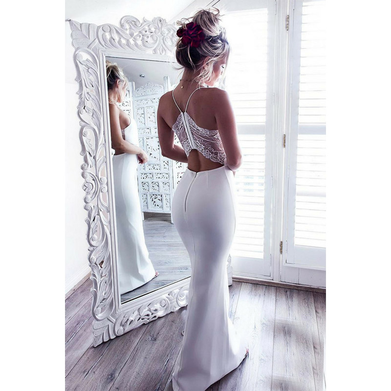 2019 Summer Elegant Women Long Party Dress White Red Halter Bodycon Sexy Maxi Dress Lace Evening Mermaid Dress