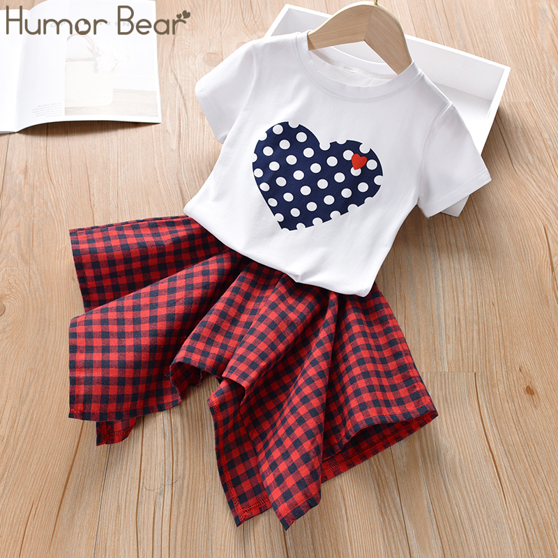 Humor Bear Girls Clothing Set 2020 Korean Summer New Ice Cream Bow Top T-shirt+Pants Kids Suit Toddler Baby Children's Clothes 13
