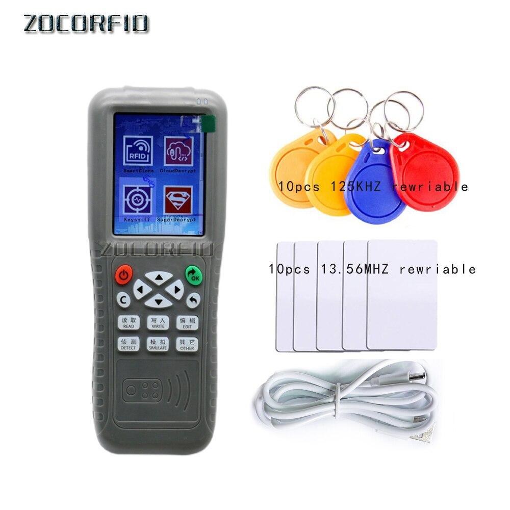 Newest X5 125KHz RFID Duplicator Copier RFID Reader Writer 13.56MHz USB Cloner NFC Programmer Rewritable Cards EM4305/T5577 UID
