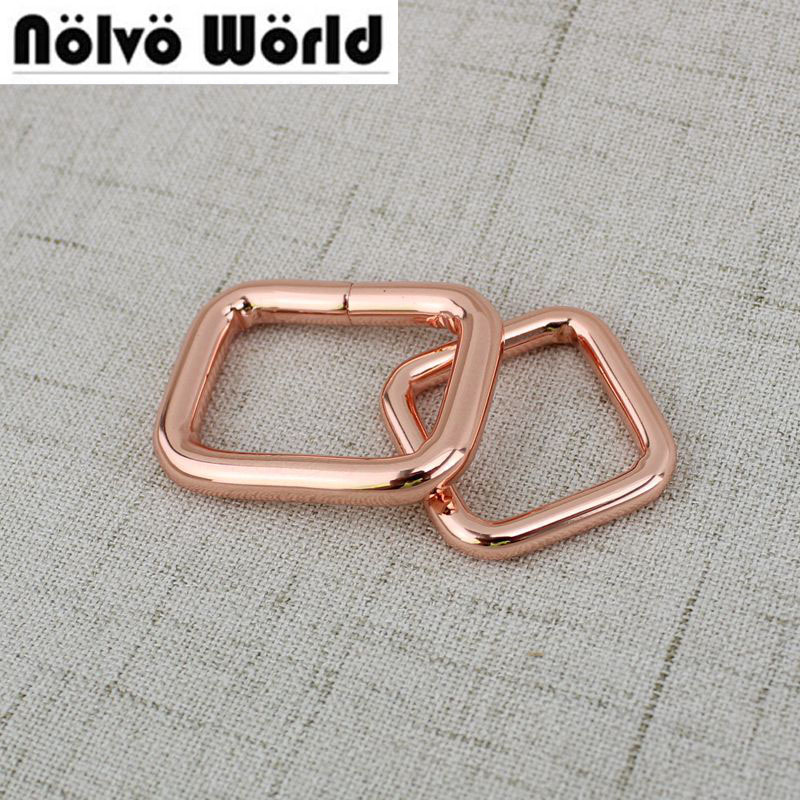10pcs 100pcs Inside 20mm 26mm Rose Gold High Quality Round Edge Buckle Bags Square Buckles Non Welded Buckle Making Connector
