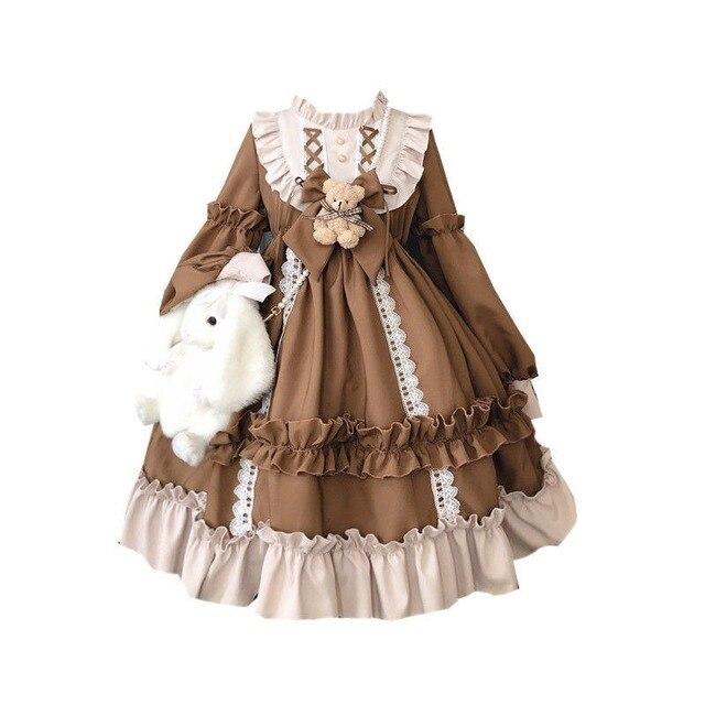 Japanese Gothic Lolita Dress Women Kawaii Bow Bear Lace Blue Dress Long Sleeve Princess Dress Halloween Costume Gift For Girls 6