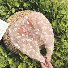 2020 Spring Women Small Transparent Tote Mesh Cloth Bag Daisy Embroidery Handbag High Quality Eco Fruit Purse For Girls