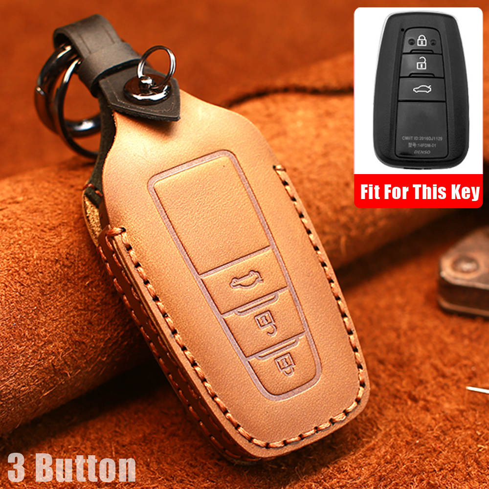 lowest price New cow Leather Car key cover 3 Button keyless Case For Toyota Camry CHR Prius Corolla RAV4 Prado 2017 2018 2019 keychain House