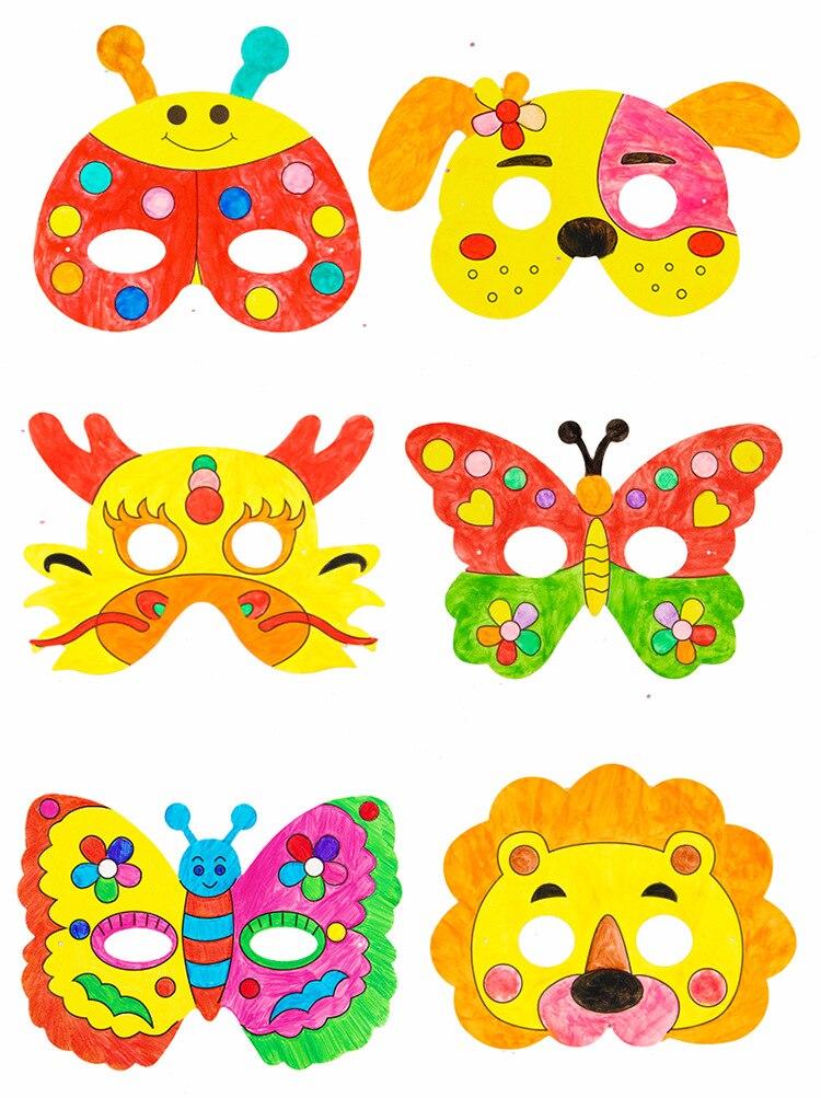 8 шт. мультяшная маска для рисования животных DIY цветной детский сад граффити художественные поделки игрушки креативные игрушки для рисован...