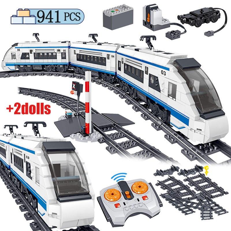 941 шт. городской Электрический гармонии высокоскоростных железных дорог строительные блоки RC технические автомобиля рельсы для поезда, кир...