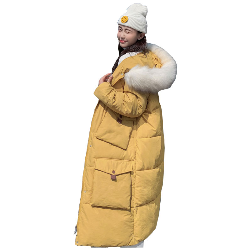 Long Hooded Fur Coat Winter Down Coat Women Oversize Bakery Jacket Cotton Padded Wadded Parkas Wind Breaker Sleeves Big Pocket