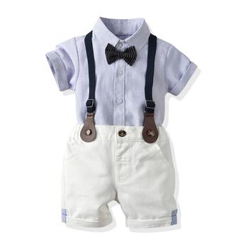 Top i Top śliczne chłopięce bawełniane ubrania dla niemowląt zestaw odzieży w paski koszula z klapą spodnie elegancki garnitur noworodka codzienne kostiumy tanie i dobre opinie top and top COTTON W wieku 0-6m 7-12m 13-24m CN (pochodzenie) Mężczyzna Moda Skręcić w dół kołnierz Zestawy Pojedyncze piersi
