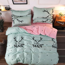 Bedding Set Elk Forest Duvet Cover with Pillowcase with Flat Sheet , Love Deer Printed Bed Set 3/4Piece Goodlight Bedclothes(China)
