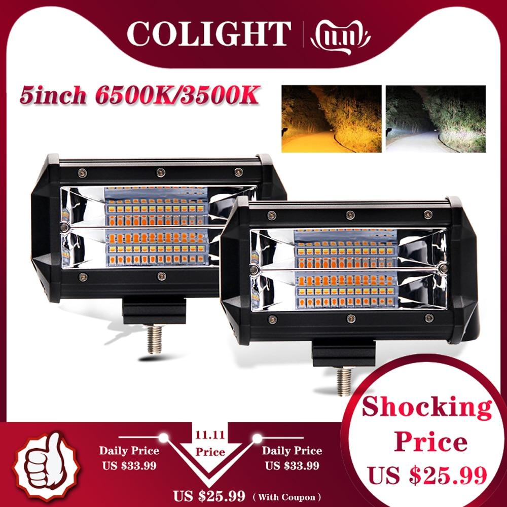 CO LIGHT Strobe 5inch 72W LED Work Light Bar Offroad Led Bar 12V 24V For Truck SUV ATV 4x4 4WD Jeep Led Driving Lamp 3000K 6500K