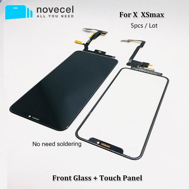 5 יח\חבילה מגע מסך Digitizer זכוכית עדשת פנל עבור iPhone X XSmax LCD מסך חיצוני סדוק זכוכית החלפת לא צריך הלחמה