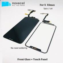 5 ピース/ロットタッチスクリーンデジタイザガラスレンズ iphone 5 × xsmax 液晶画面外側ガラス交換不要はんだ