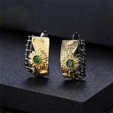 RongXing pequeños pendientes de aro de flores de circonita verde redonda para mujer 925 pendientes de plata de ley chapado en oro Vintage negro