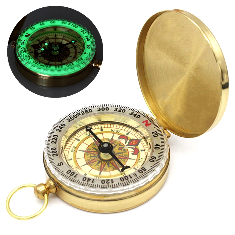 Outdoor Camping Hiking Gold Plated Copper Noctilucent Compass Navigation H1