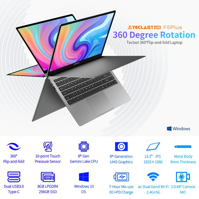 "Teclast Newest laptop F6 Plus 13.3"" Notebook 1920×1080 IPS Gemini Lake N4100 Windows10 8GB LPDDR4 256GB SSD 360° Rotation touch 2"