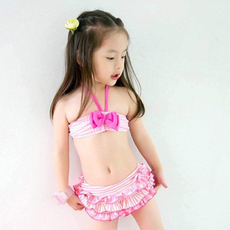 Special Offer KID'S Swimwear Cute Men And Women Baby Small Children Pink Cake Bow Halter Regulation Split Type Swimwear