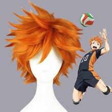 Anime haikyuu hinata syouyou 코스프레 가발 짧은 오렌지 털이 계층화 된 가발 내열성 합성 머리 애니메이션 가발 + 가발 모자