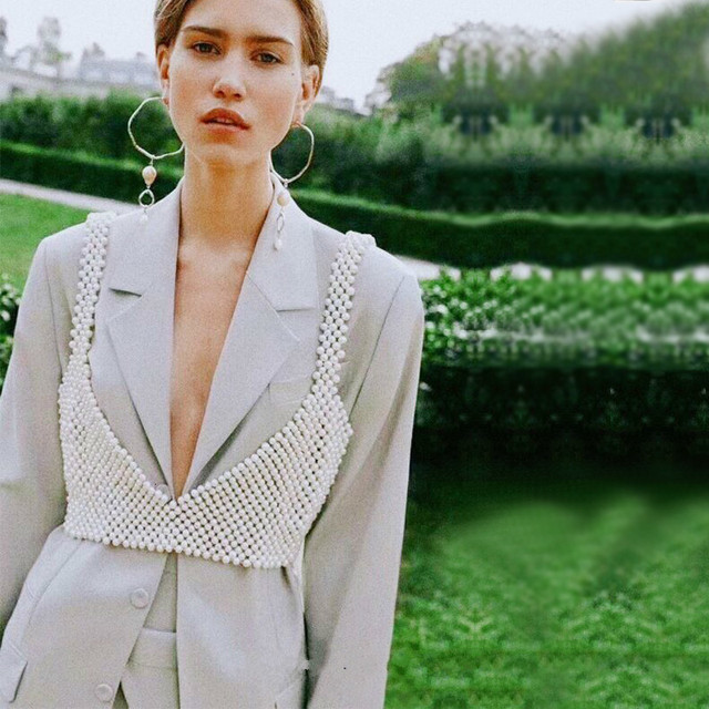 [BXX] Handmade Pearls Vest Women Tops 2021 Luxury Brand Designer New For Women Beading Vests Sleeveless Hollow Out Shirts HI451 2