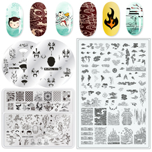 Stamping-Plates Nail-Art-Template Print-Tools Flame Stainless-Steel Clould Chinese-Style