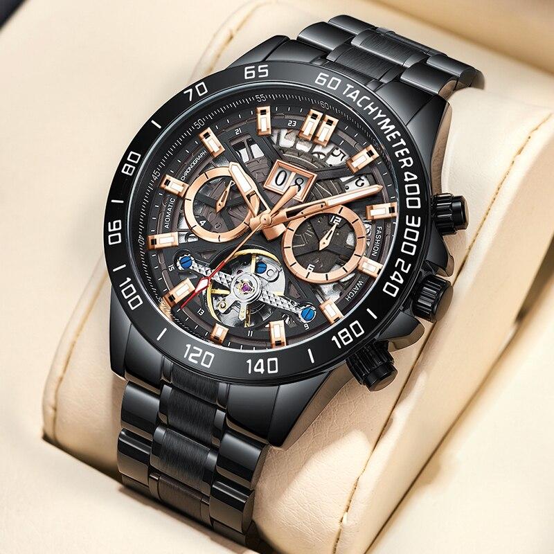 WISHDOIT 2021 Brand Luxury Men's Watch Automatic Black Mechanical Watch Stainless Steel Waterproof Fashion Casual Men's Watch