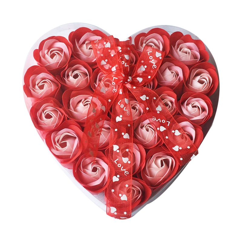 Lovely 24 Pcs Red Scented Bath Soap Rose Petal In Heart Box (Red)