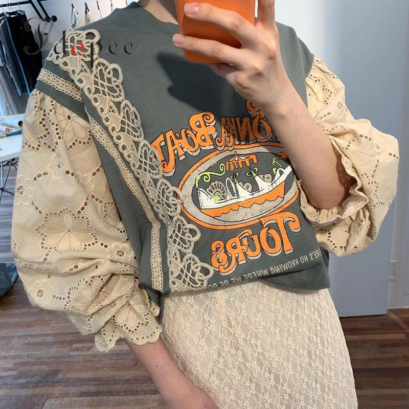 2019 Autumn Oversized Hoodie Fashion Letters Printed Lantern Sleeve Three Quarter Contrast Color Age Reduction Sweatshirt Women