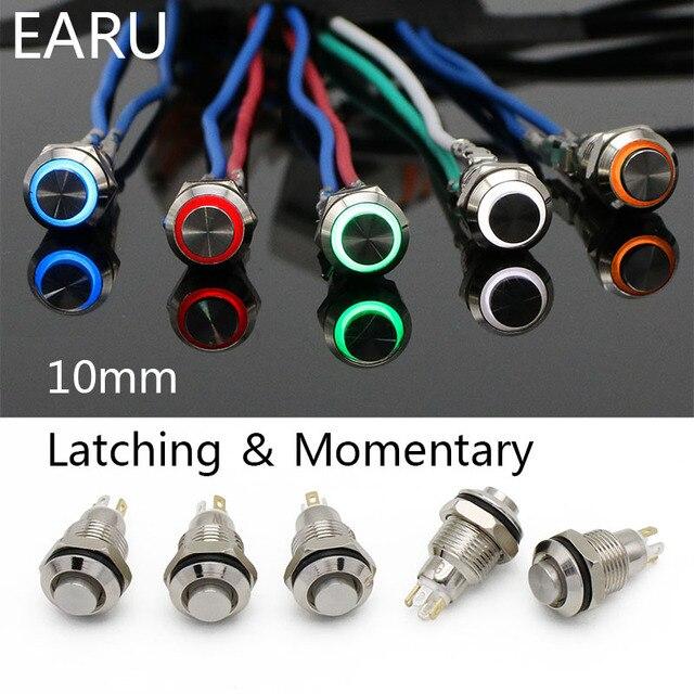 10mm High Head Metal Push Button Switch LED Lamp Light Fixation Latching Locking Momentary Reset PC Power Car Auto Engine Start