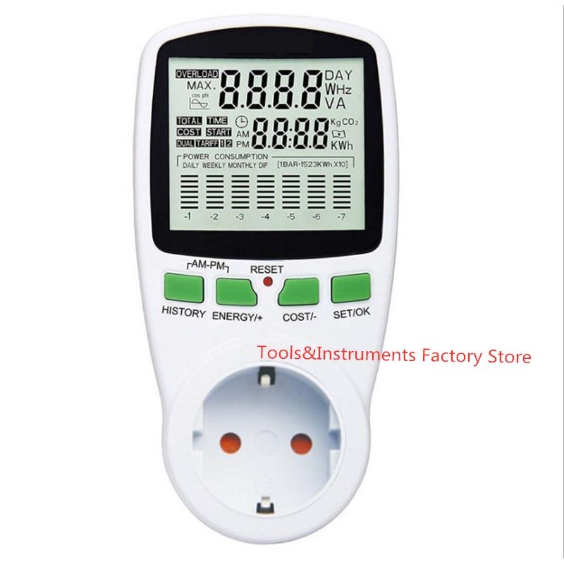 Compteur dénergie LCD numérique wattmètre puissance électrique Kwh compteur de puissance ue français états-unis royaume-uni AU mesure prise analyseur de puissance