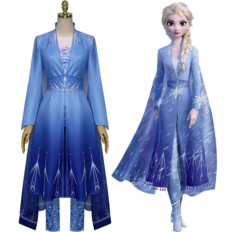 New Froz 2 Cosplay Snow Adult Elsa Cosplay Costume Halloween Cosplay Elsa  Costume Princess Ice Queen Elsa Outfit Full Set