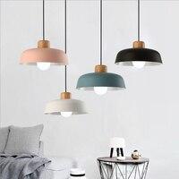 Moderne Nordic Anhänger Lichter Aluminium Lampenschirm Holz Decor Hängende Lampe für Esszimmer Küche Leuchten