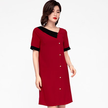 Chiffon Midi Dress Plus Size V-neck Short Red Loose Summer Pearl Button Office Vintage Dresses For Women Xxxl 4xl 5xl 6xl Casual(China)
