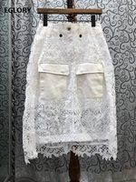 Top Quality Skirts 2020 Summer Style Women Crochet Lace Embroidery Pocket Deco Mid Calf Length Casual White Black Skirts Female