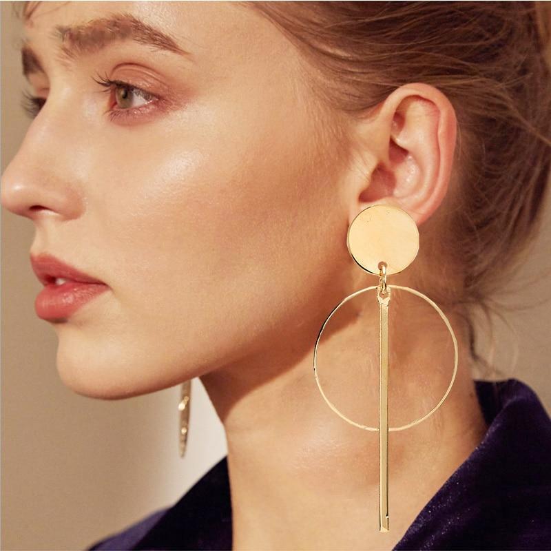 Einfache art und weise gold farbe Silber überzogene geometrische Lange Kreis ohrringe für frauen mode großen hohl tropfen ohrringe schmuck