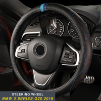 For BMW 3 Series F30 2012 2018 Auto Car Styling Cow Leather Steering Wheel Cover Interior Accessories