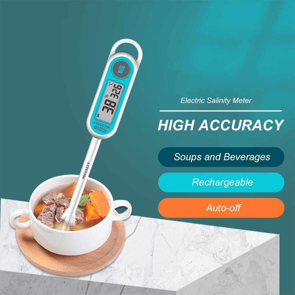 Mileseey Multi-point Electric Salinity Meter Lcd Digital Salinometer Salt Measuring Device Rechargeable Salimeter Salinograph Clearance Price
