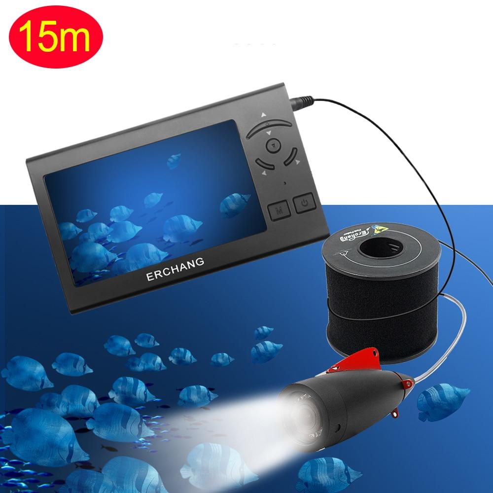 1000TVL 4,3 дюйма 15 м кабель рыболокатор 8 шт. Белый светодиодный регулируемый светильник для подводной съемки камера для рыбалки с ЖК-монитором Fishfinder - Цвет: 15m cable
