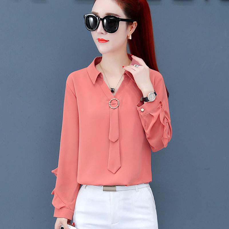 Women Spring Summer Style Chiffon BLouses Shirts Lady Casual Long Sleeve Turn-down Collar Blusas Tops DF2998
