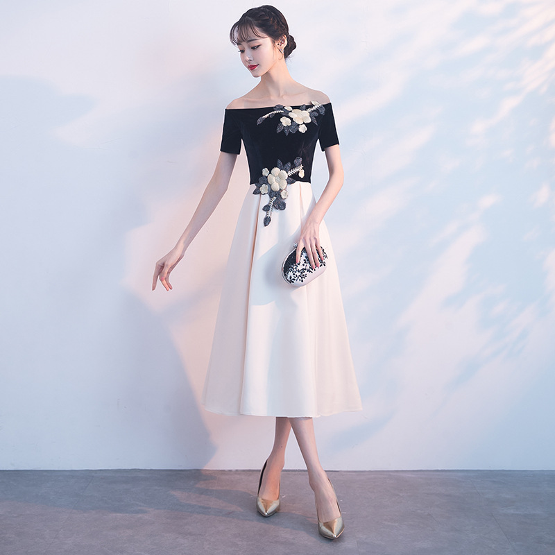 Late Formal Dress Women's 2019 New Style Banquet Off-Shoulder Host Formal Dress Dignified Glorious Party Dress Slimming Women's