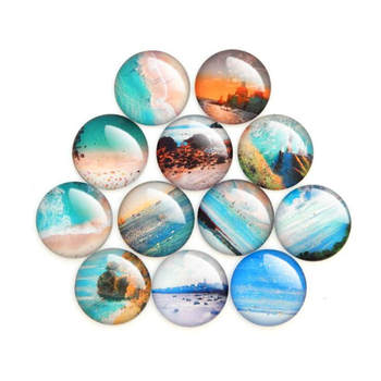 Julie Wang 8-30mm Glass Cabochons Mixed Summer Beach Pattern Fat Back Round Demo Jewelry Making Accessory image