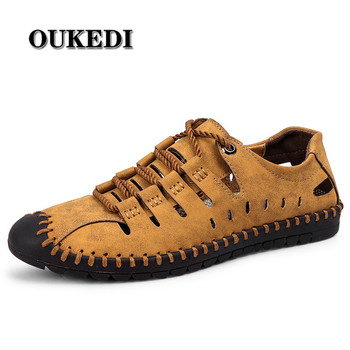 2019 New Summer Shoes Men Leather Casual Sandals Breathable Comfortable Beach Shoes Water Shoes Size 38-46
