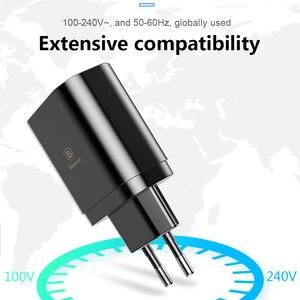 Image 5 - Baseus cargador USB 3.4A de pared con 3 puertos, cargador rápido de viaje con pantalla Digital, enchufe europeo, para Samsung, Huawei